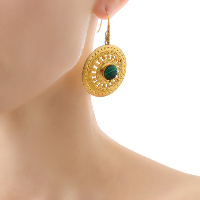 ILONA  Earrings Gold-Plated with a Malachite cabochon