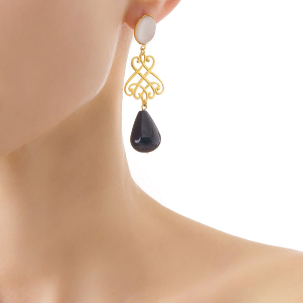 LUDIVINE Earrings with Fresh water pearl and Black agate drop