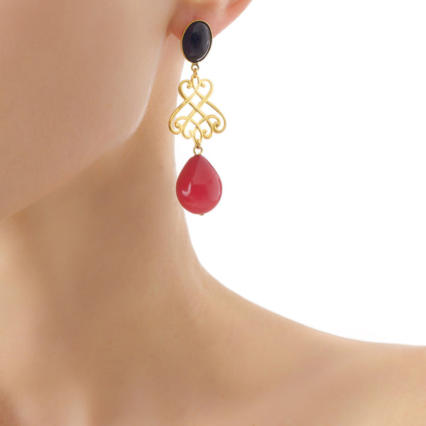 LUDIVINE Earrings with Black agate and Red drop