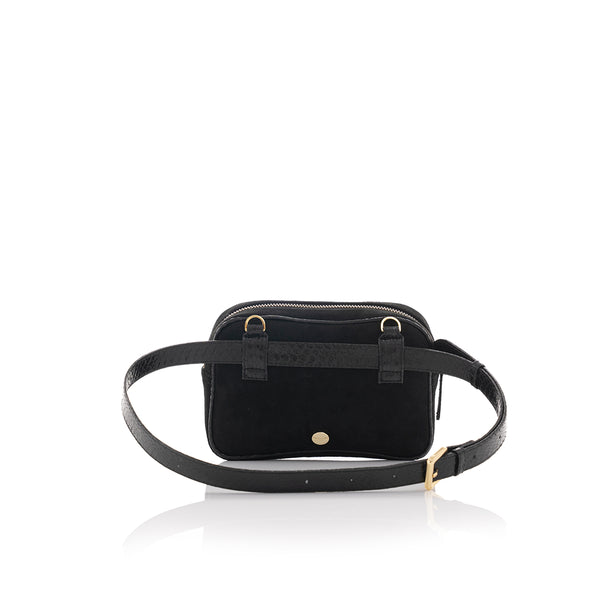WANTOO, Two-in-one belt and crossbody bag Black cobra and lamb