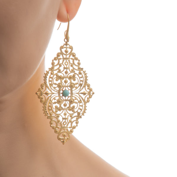 FAUSTINE Delicate Filigree Earrings Turquoise