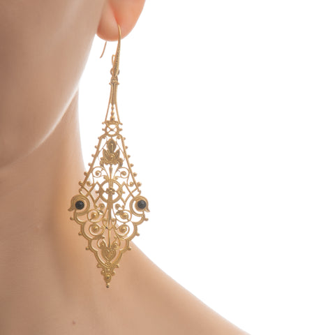 CHARLINE Delicate Filigree Earrings Black