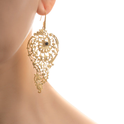 BLANDINE Filigree Earrings Black agate