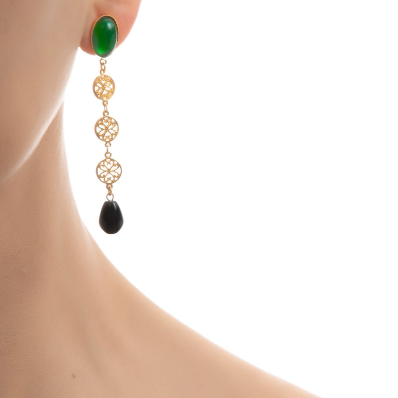 NOOR Earring Green & Black Agate