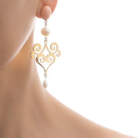 ANA Earring Gold-Plated Pink and Pearl