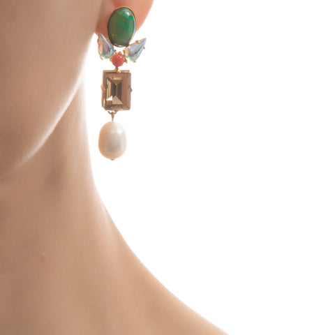 AVA Earring Orange Emerald Swarovski Pearl