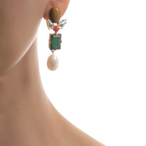 AVA Earring Tiger Eye Emerald Swarovski Pearl