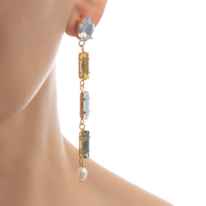 LANA Earring Pearl Grey - Swarovski crystal Long