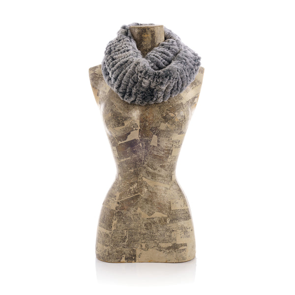 MERIBEL Grey round knitted  scarf