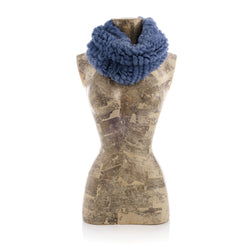 MERIBEL blue, Round knitted scarf