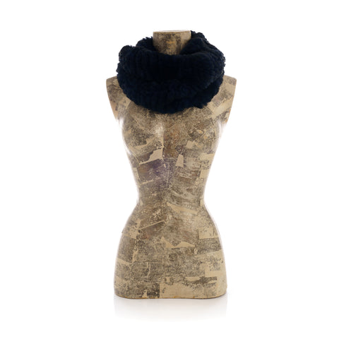 MERIBEL navy round knitted  scarf