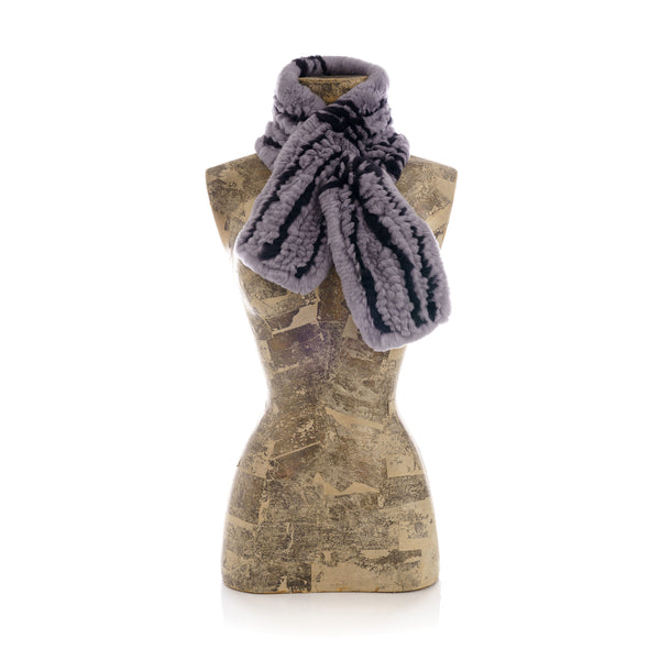 NISEKO Grey and black Knitted scarf.