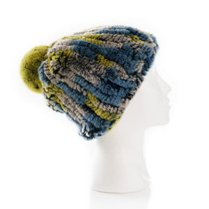 Verbier  Mixed yellow and denim blue  Knitted Hat