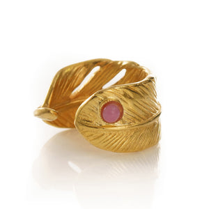 ISIS Feather Ring Pink