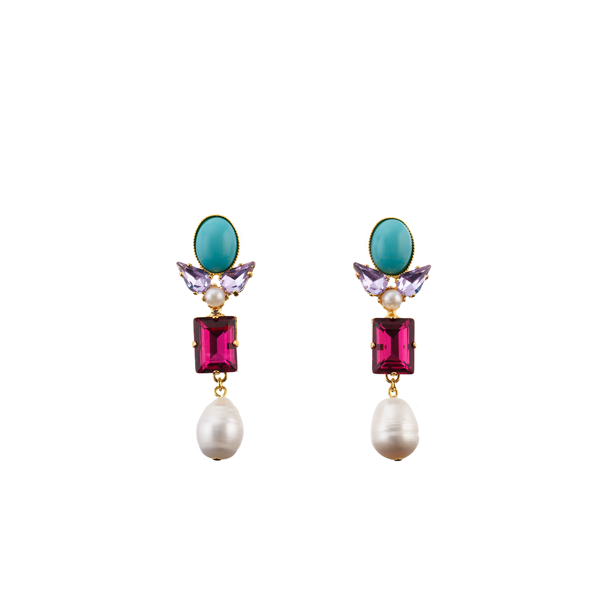 AVA Earring Turquoise Swarovski Rubis Crystal and Baroque Waterpearl