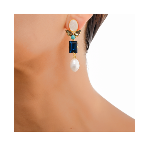 AVA Earring Turquoise Swarovski Saphire Crystal and Baroque Waterpearl