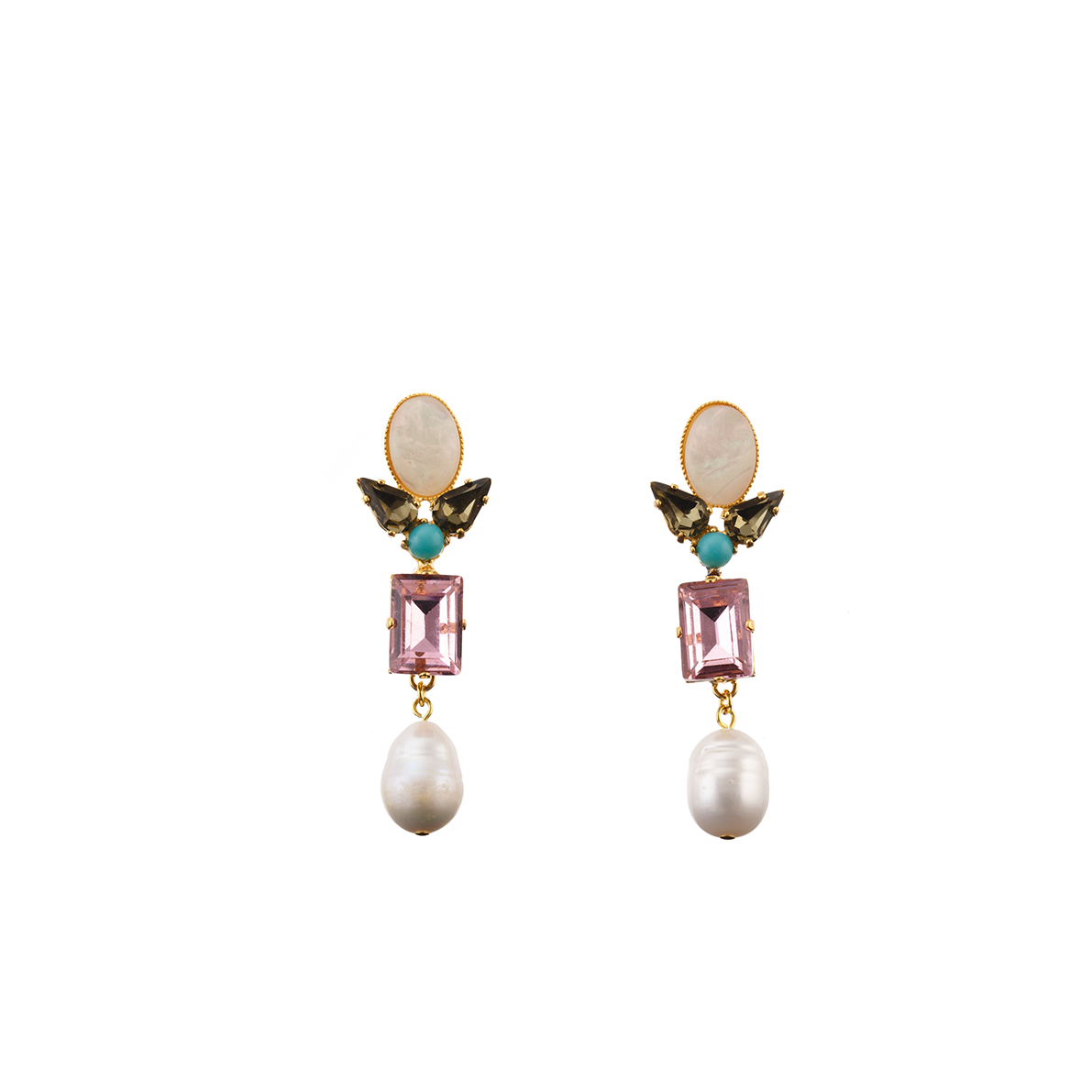 AVA Earring Pearl Swarovski Pink Crystal and Baroque Waterpearl