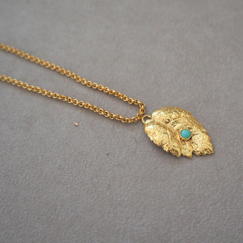AZELIE Turquoise Delicate Leave Pendant Necklace
