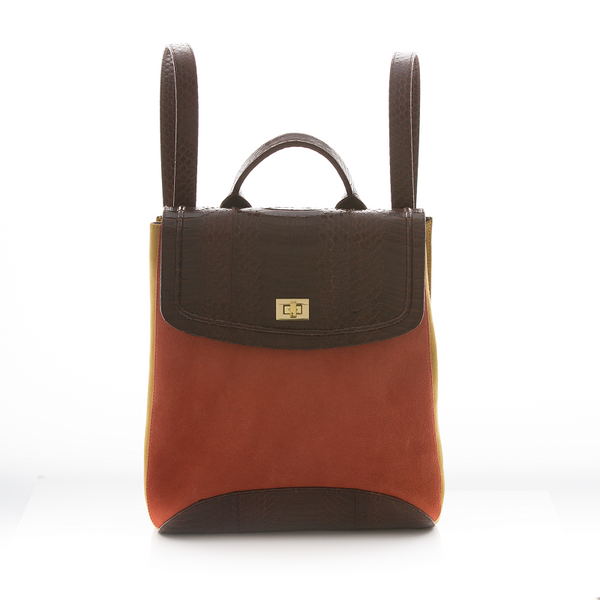 Bagpack BAGIFIK Brown Cobra, Paprika and Mustard Suede