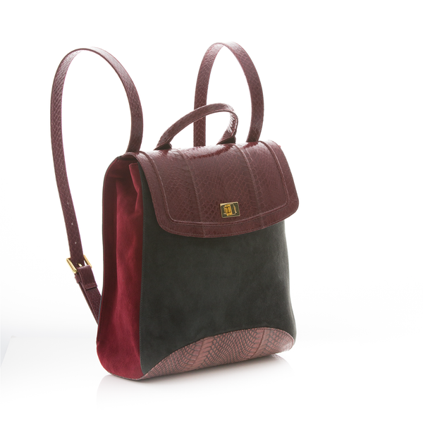 Bagpack BAGIFIK Cassis and Cognac Cobra, Elephant and Wine Suede