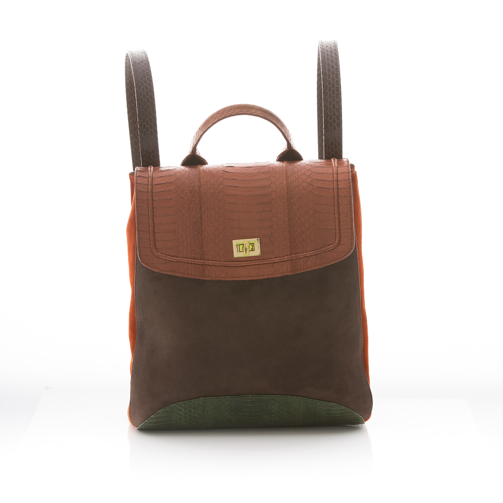 Bagpack BAGIFIK Bronze and Summer Green Cobra, Mice and Paprika Suede