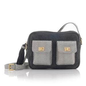 CAMBAG, crossbody bag Grey & Blue cobra and lamb suede