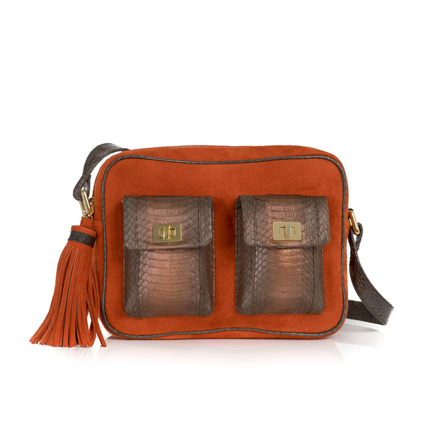 CAMBAG, crossbody bag paprika suede and muddy bronze cobra