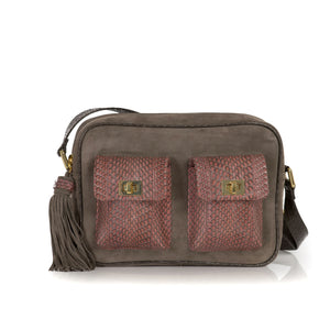 CAMBAG, crossbody bag cognac cobra and mud suede