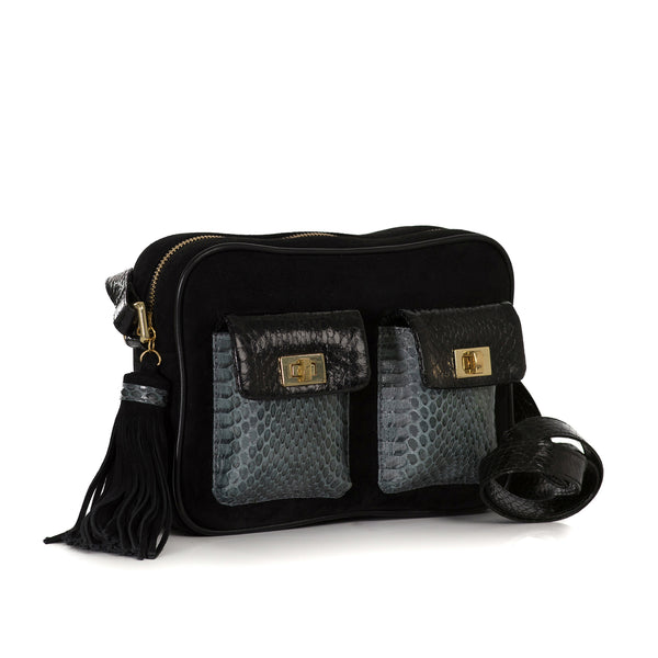 CAMBAG, crossbody bag black cobra and lamb suede