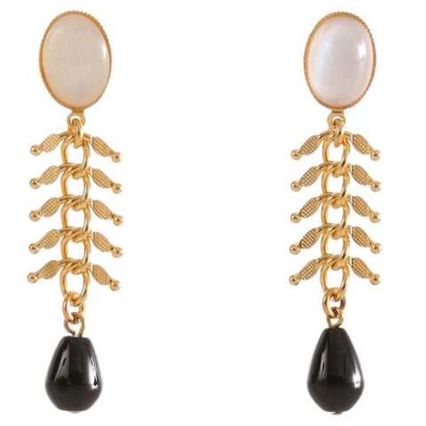 CANDICE Gold-Plated Pearl and Black Agate Earrings