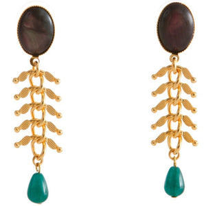CANDICE Gold-Plated Black and Green Agate Earrings
