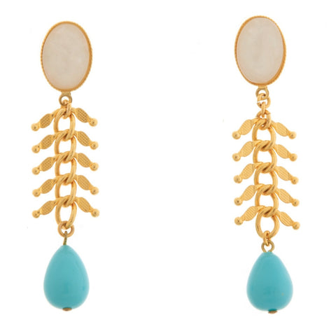 CANDICE Gold-Plated Pearl and Turquoise Earrings