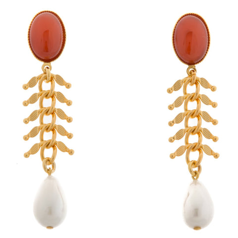 CANDICE Gold-Plated Cornelian and Pearl Earrings