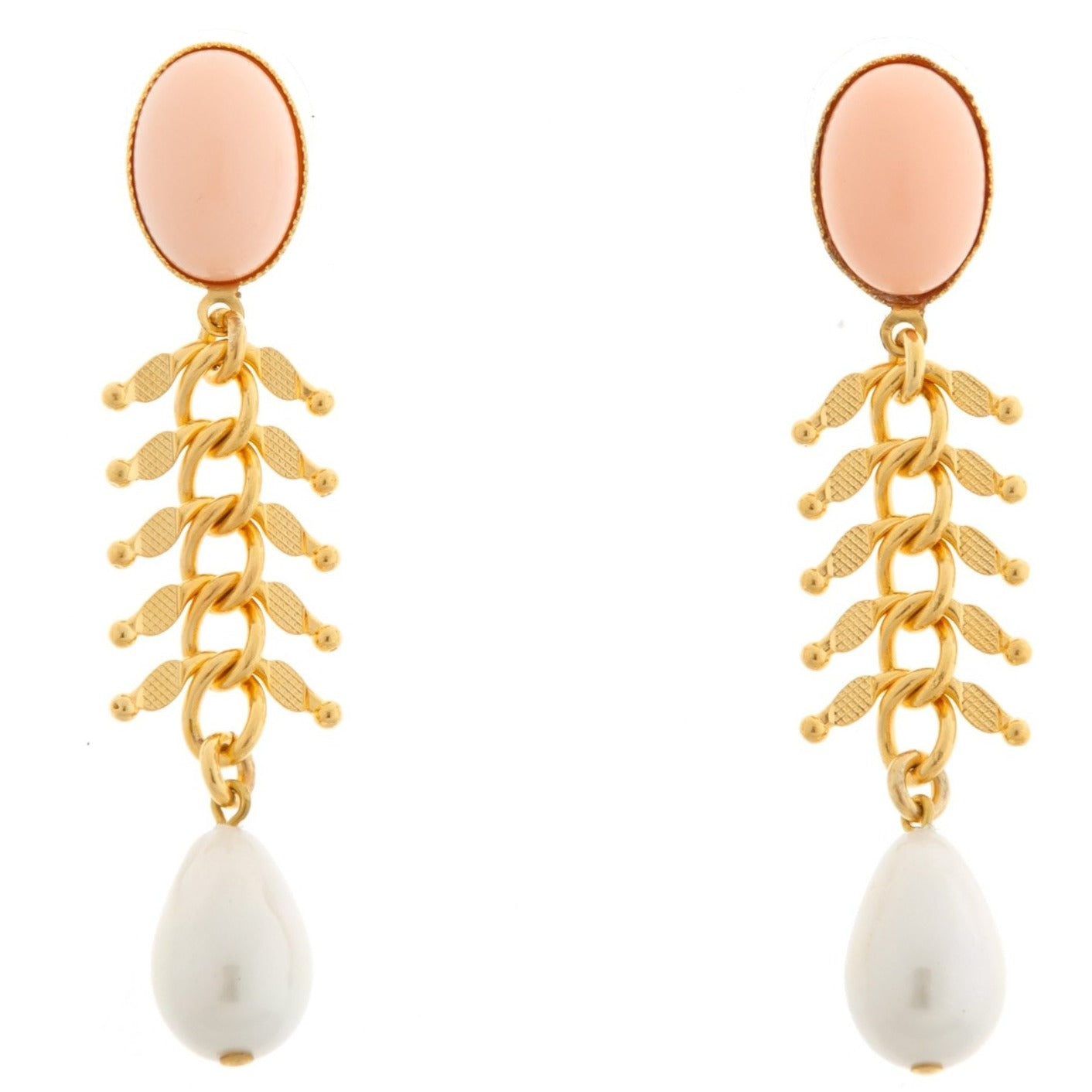 CANDICE Gold-Plated Coral and Pearl Earrings