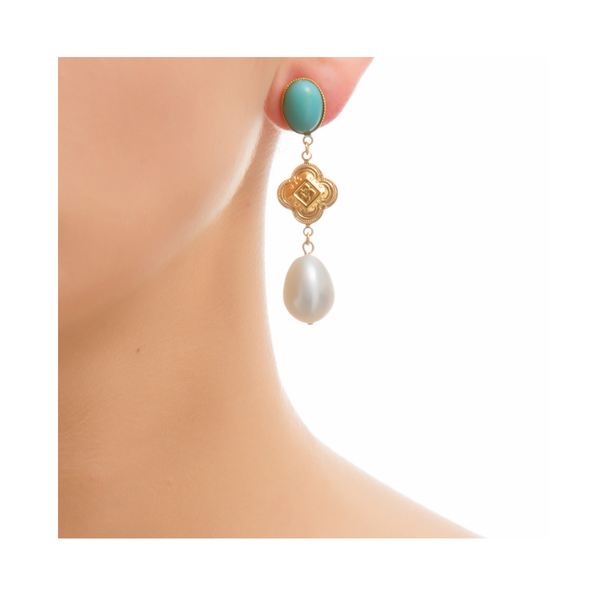 CHERI Earring Gold-Plated Turquoise and Pearl