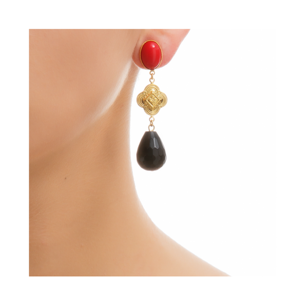 CHERI Earring Gold-Plated Red and Black Agate