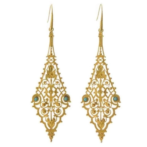 CHARLINE Delicate Filigree Earrings Turquoise