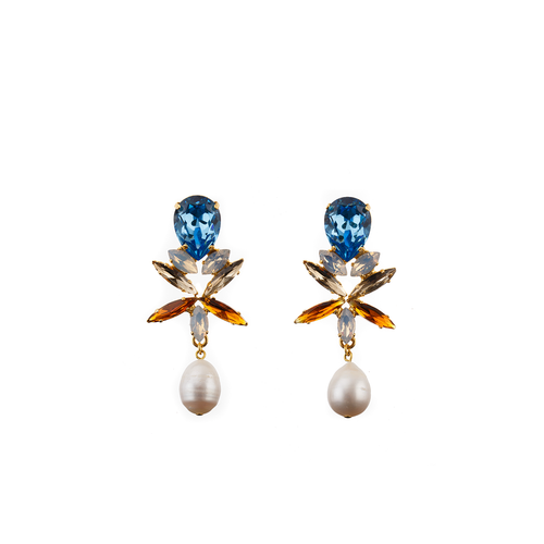 CLAUDIA Earring Topaz Swarovski Crystal and Baroque Waterpearl