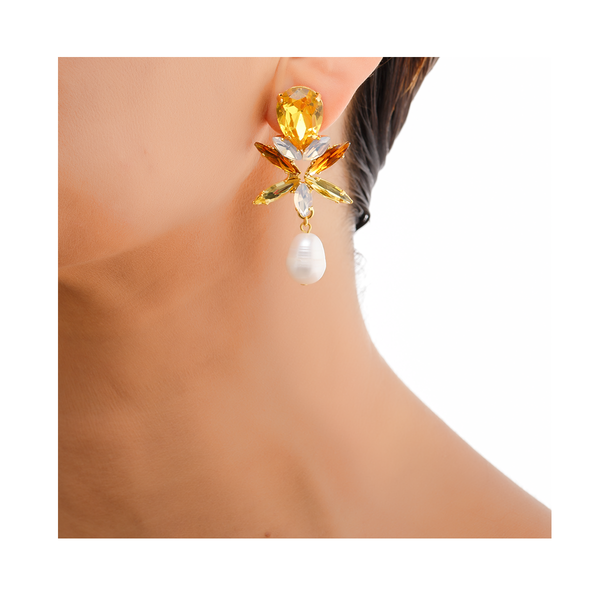CLAUDIA Earring Citrine Swarovski Crystal and Baroque Waterpearl