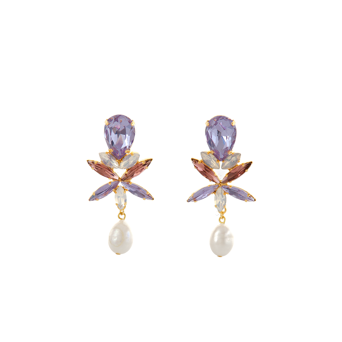 CLAUDIA Earring Amethyst Swarovski Crystal and Baroque Waterpearl