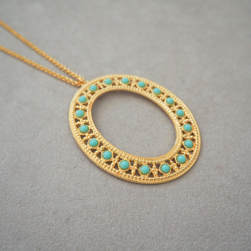 COLOMBINE Statement Vintage-Inspired Pendant Necklace Turquoise