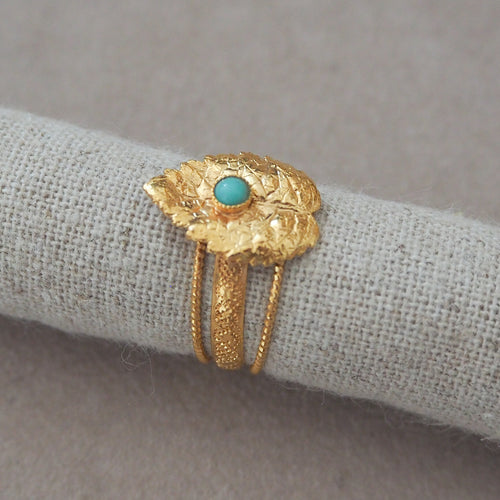 CLELIE Delicate Adjustable Leave Ring Turquoise