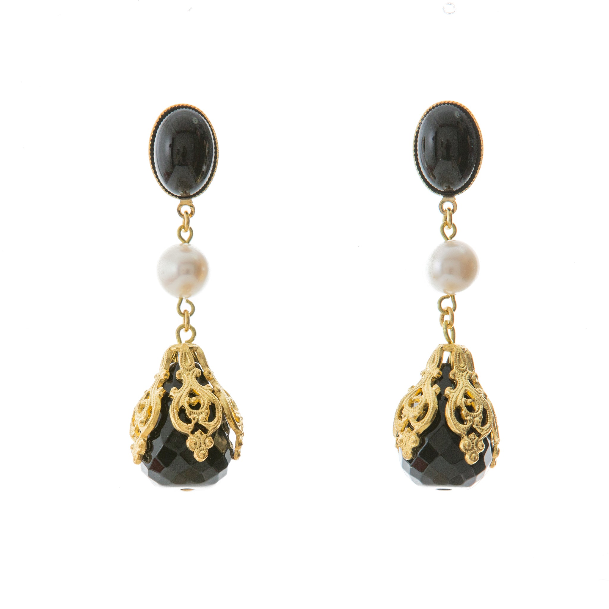 CIRINE Earrings with Fresh water pearl and Black Agate Drop