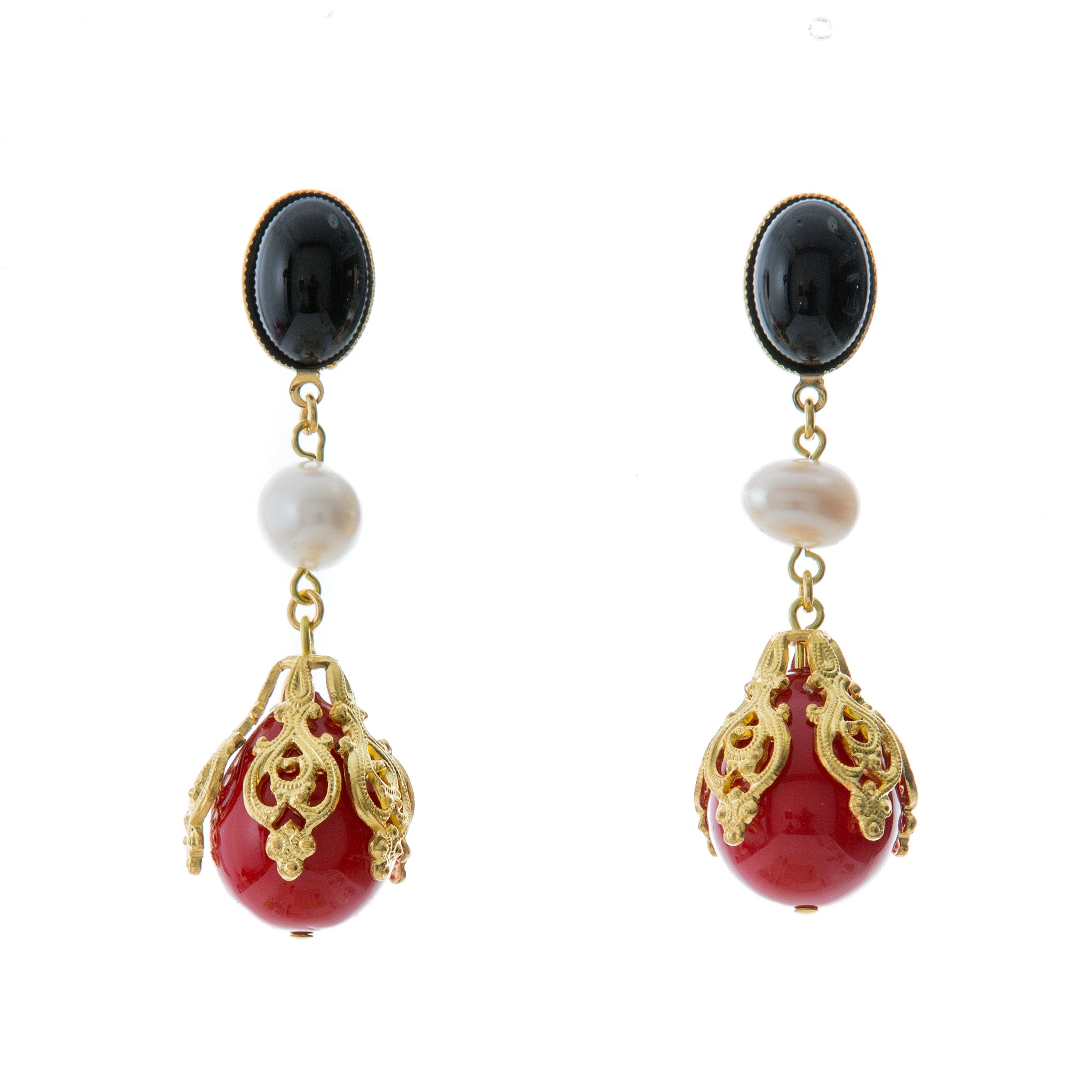 CIRINE Earrings with Fresh water pearl and Red Drop