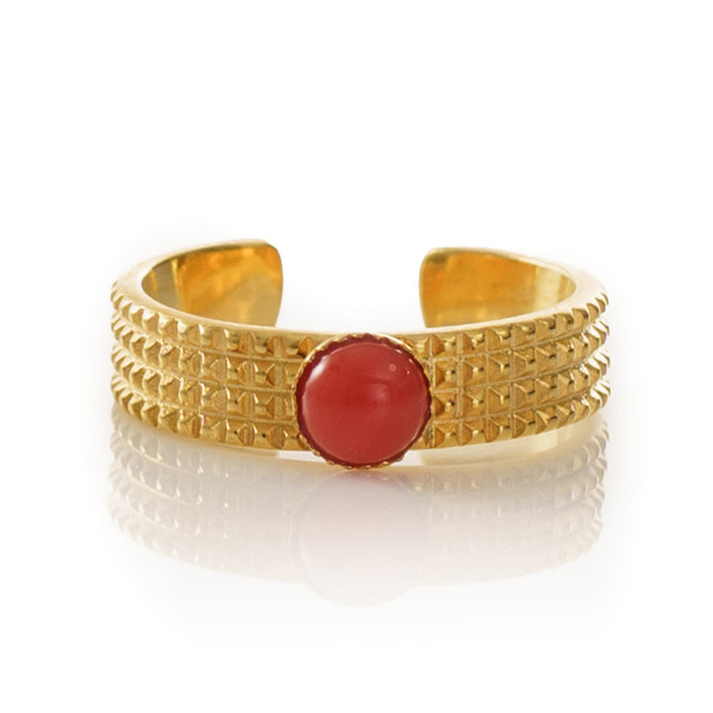 CLARIS adjustable ring red coral