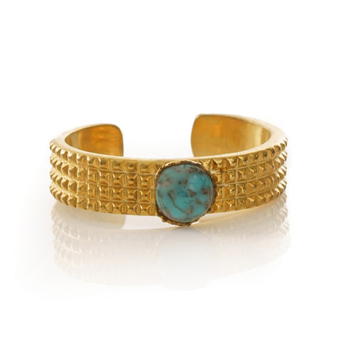 CLARIS Adjustable Ring Marbled Turquoise
