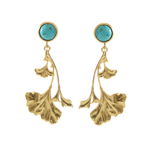 DAHLIA Earrings Gold-Plated Turquoise cabochon