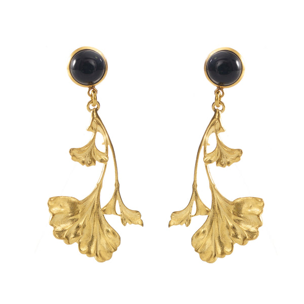 DAHLIA Earrings Gold-Plated with a black cabochon