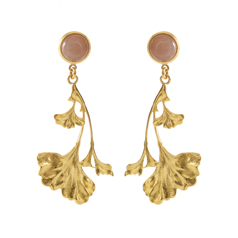 DAHLIA earrings gold-plated with a pink monstone cabochon