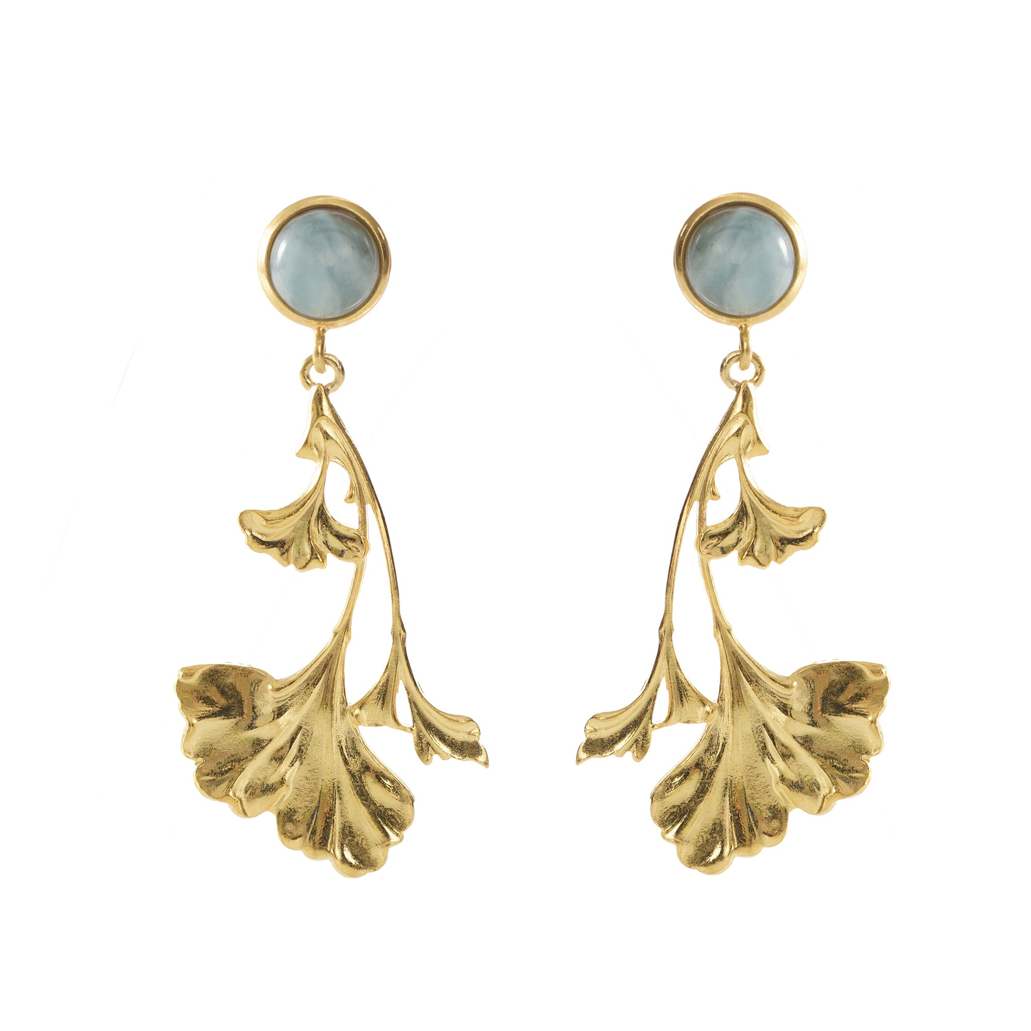 DAHLIA Earrings Gold-Plated with an Amazonite cabochon